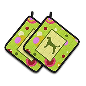 Caroline's Treasures CK1006PTHD Lime Green Dots American Foxhound Pair of Pot Holders, 7.5HX7.5W, Multicolor 41