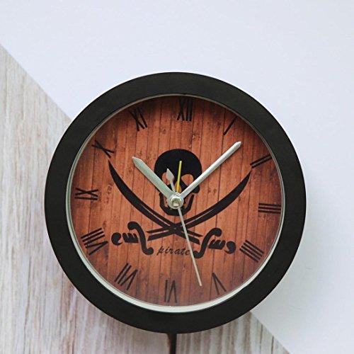 Pirates Metal Clock - NXDA Alarm Pirates Skull Silent Sweep Modern Graceful Bell Desk Creative Digital Alarm Clock (Black)