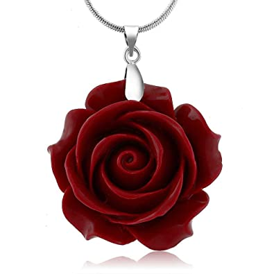 Amazon 35mm red simulated coral carved rose flower pendant 35mm red simulated coral carved rose flower pendant with 16quot2quot mozeypictures Image collections