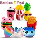 R • HORSE Cute Unicorn, Hamburger, Popcorn Set Kawaii Cream Scented Squishies Slow Rising Decompression Squeeze Toys for Kids or Stress Relief Toy Hop Props, Decorative Props Large (7 Pack)
