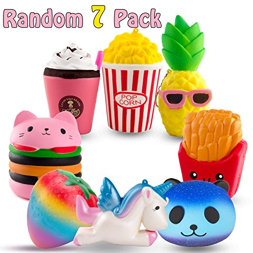 R • Horse Cute Unicorn, Hamburger, Popcorn Set Kawaii Cream Scented Squishies Slow Rising Decompre Icon