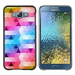 Dragon Case - FOR Samsung Galaxy E7 E7000 - polygon art blue yellow pattern white - Caja protectora de pl??stico duro de la cubierta Dise?¡Ào Slim Fit