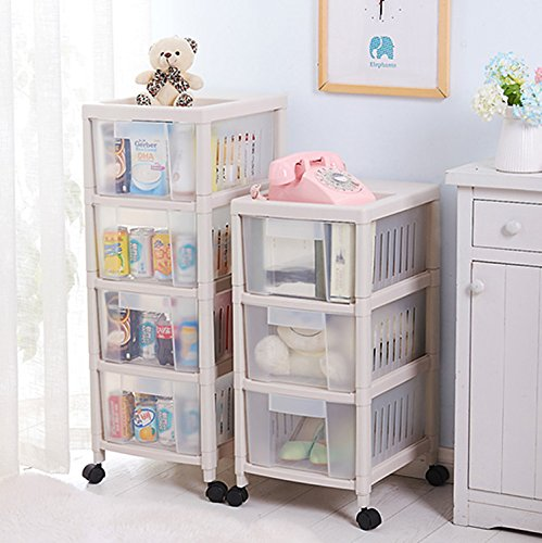 Household Storage Cabinet- Fruit Storage Basket, Kitchen Rack, Bathroom Living Room Storage White 4Floor