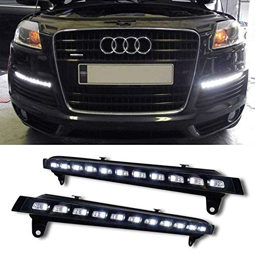 (iJDMTOY Xenon White LED Daytime Running Lights For 2007-2009 Audi Q7 w/Amber LED Turn Signals, OEM Fit LED DRL Assy Powered by (11) White LED as DRL & (11) Amber LED as Turn Signals)