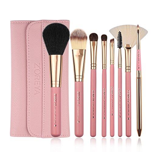 Makeup Brushes Zoreya 8Pcs Travel Makeup Brushes Set With Case Pink Powder Foundation Fan Contour Eyes Makeup Brushes  For Beginners