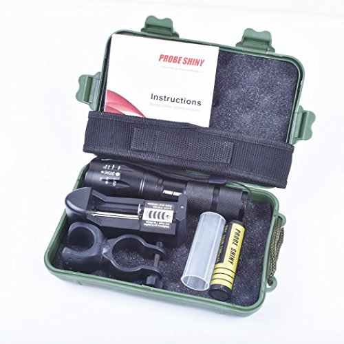 flashlight Set, Sandistore X800 Flashlight CREE XM-L T6 LED Zoom Military Torch ShadowHawk + Battery (Black)
