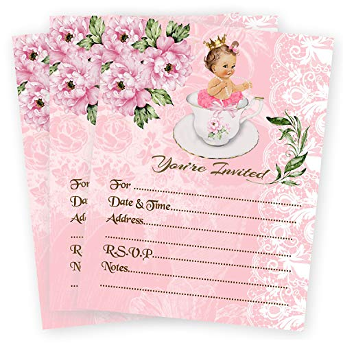 Girl Tea Luncheon Baby Shower Pink Invitations Teacup Teapot Qty 20 Invites and Envelopes ()