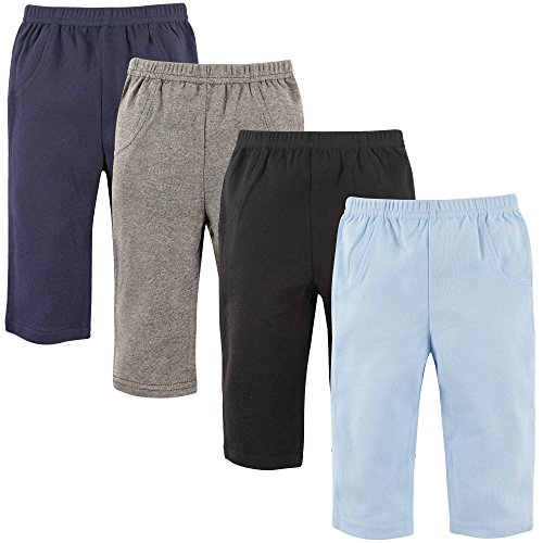 Luvable Friends Baby Cotton Pants, Boy Solid 4-Pack, 18-24 Months (24M)