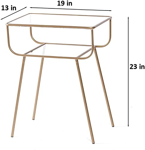 EKR Side End Corner Table Home Furniture Bedroom Living Room Table top 2 Tempered Glass Tiers Nesting Pedestal Espresso Coffee Balcony