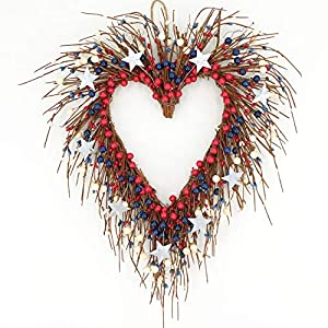 idyllic Heart-Shaped Wreath with Red Blue Berry and White Star Americana Door Wreath 4th of July Decoration 3