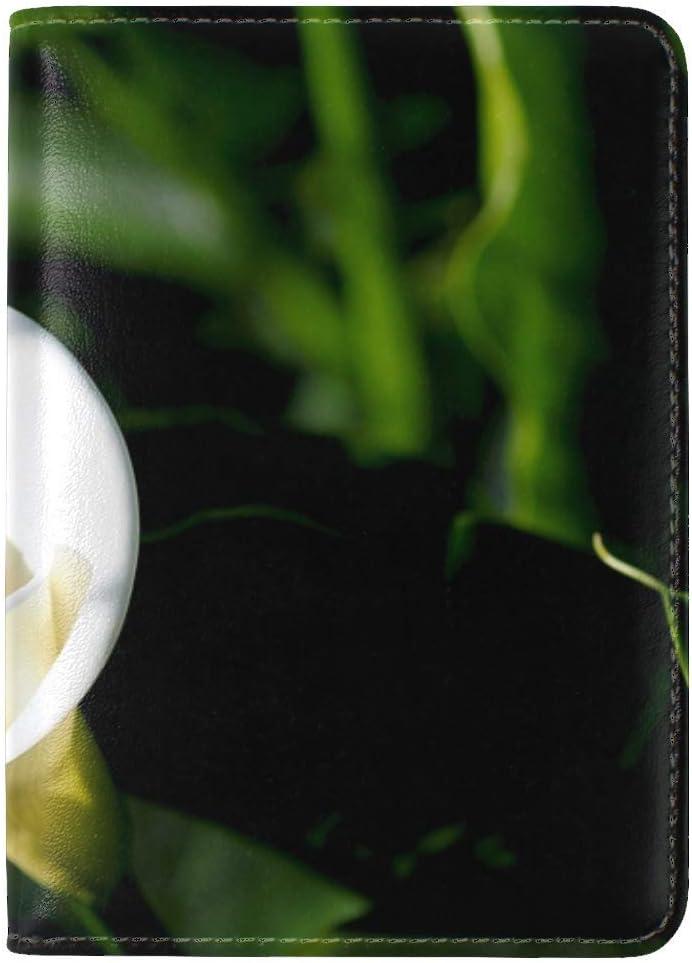 JiaoL Calla Flower White Leather Passport Holder Cover Case Travel One Pocket