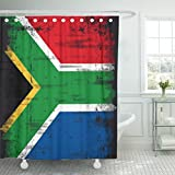 Emvency Shower Curtain 72''x72'' Polyester Fabric Africa South African Flag Grunge For You Johannesburg Apartheid Democracy Economy Waterproof Adjustable Hook