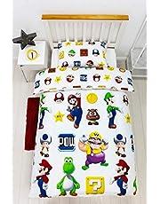 Character World Super Mario Lineup Dekbedovertrek voor eenpersoonsbed, omkeerbaar, dubbelzijdig officieel Mario beddengoedset met bijpassende kussensloop (eenpersoonsbed)   Ninlieds001UK1