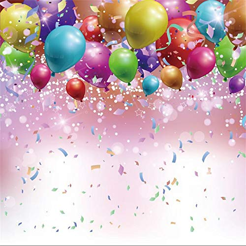 AOFOTO 10x10ft Colorful Balloons Confetti Background Kid Adult Birthday Party Events Decoration Blur Bokeh Haloes Dots Backdrop for Parties Vinyl Wallpaper Photo Booth Props