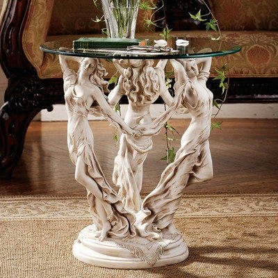 Glass Antique End Table - Design Toscano The Greek Muses Glass Topped Side Table, 20 Inch, Polyresin, Antique Stone