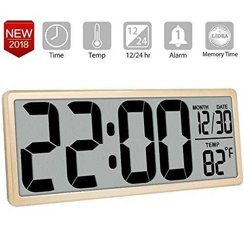 13.8 Jumbo Digital Alarm Clock Battery Operated Extra Large Clock with 4.6 Digits, Indoor Temperature | LCD Wall Clock with Date/Fold-Out Stand, Desk/Shelf Clock, Button Cell Battery Included,Gold