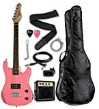 PINK Junior Kids Mini 3/4 Size 36'' Electric Guitar & Amp Starter Pack, Guitar, Temolo, Amplifier, Gig Bag, Strap, Cable, String, Tuner, & DirectlyCheap(TM) Translucent Blue Medium Guitar Pick