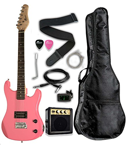 3/4 Scale 36″ Kids Child Starter Electric Guitar Pack EP36 with 3W Amp, Digital Tuner, Gig Bag, Strap, Cable, Replacement Strings, Whammy Bar, Picks by RAPTOR (Pink)