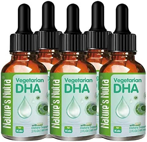 Nature's Nutra Vegetarian Baby DHA, 2 Fl. Oz (60ml) 4 + 1 Bundle Pack with Bonus Bottle, Premium Baby and Infant Liquid Drops, Toddlers Kids Children Multivitamin Supplement, Life's DHA™ 100mg