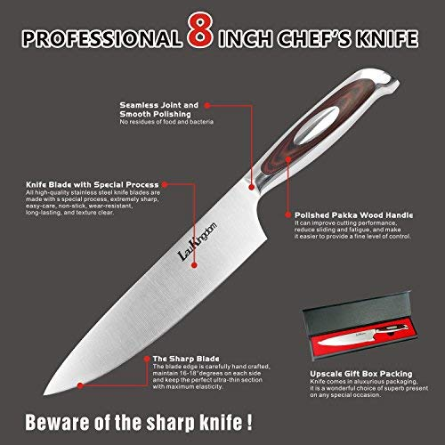 LauKingdom Chef Knife, High-carbon Stainless Steel Blade Multipurpose Chefs Knives with Sharp Straight Edge for Chopping, Mincing, Slicing and Dicing, 8-Inch Kitchen Knife by LauKingdom (Image #1)