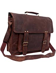 FeatherTouch Mens Rustic Leather Briefcase Travel Office Bag Macbook Medium Brown