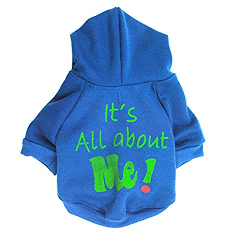Zrong Pet Dog Cat Puppy Warm Its All about Me Hoodie Hooded Sweaters Coat Costume Clothes Apparel