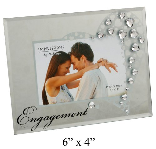 Engagement Mirror Glass Photo Frame Decorated with Hearts...