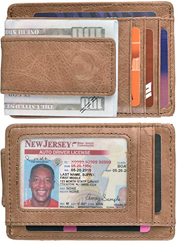Hopsooken Money Clip RFID Front Pocket Wallet Men Leather Slim Minimalist Wallet (B Vintage Oil Light - Pocket Wallet Id Clip Front