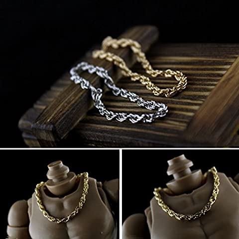 Smartchef 2PCS Platinum and Gold necklace Model Fashion accessories gang 1/6 Scale FIGURE (Gold Buffalo Necklace)