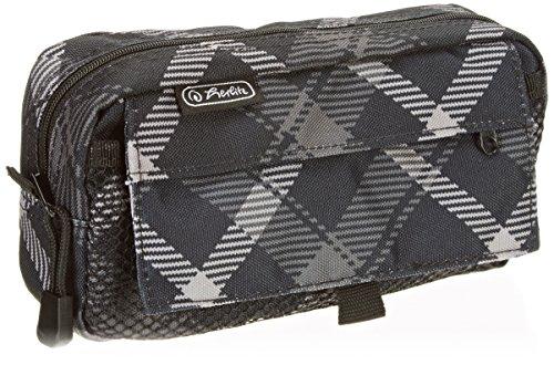 herlitz 50009756 Faulenzer eckig groß, 1 Netztasche mit Klettverschluss, 1 Tasche mit Reißverschluss, Motiv: Black&Wow Slogan, 1 Stück Karo Grau