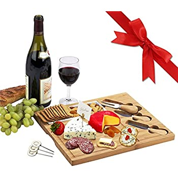 Picnic at Ascot Bamboo Cheese Board/Charcuterie Plate with 3 Stainless Steel Cheese Tools, Ceramic Dish, and Markers - A Great Holiday Gift for Gourmets