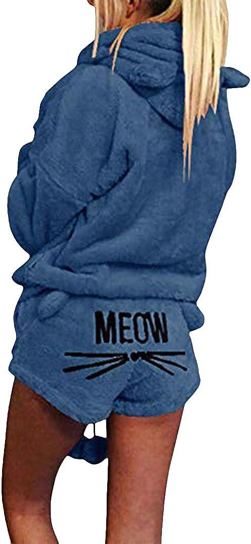 Silver Basic Femmes Ensemble De Deux Pi/èces Pyjamas Chaud Corail Velours Costume V/êtements De Nuit Mignon Chat Motif Hoodies /à Manches Longues Shorts Outfit