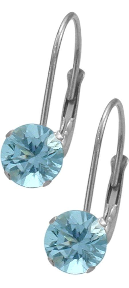December Sterling Silver 1.10tcw. 5mm Blue Topaz Leverback Gem Earrings Elite Jewels E3140SS