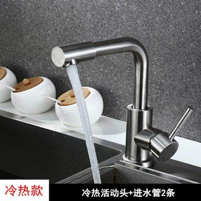 J Oudan 304 Cold Kitchen Faucet Mixing Valve Member Hot and Cold Water All Copper Kitchen Sink Single Cold Ceramic Valve Core, No Hot and Cold Water Inlet Pipe 304 Twentysomething (color   D, Size   -)