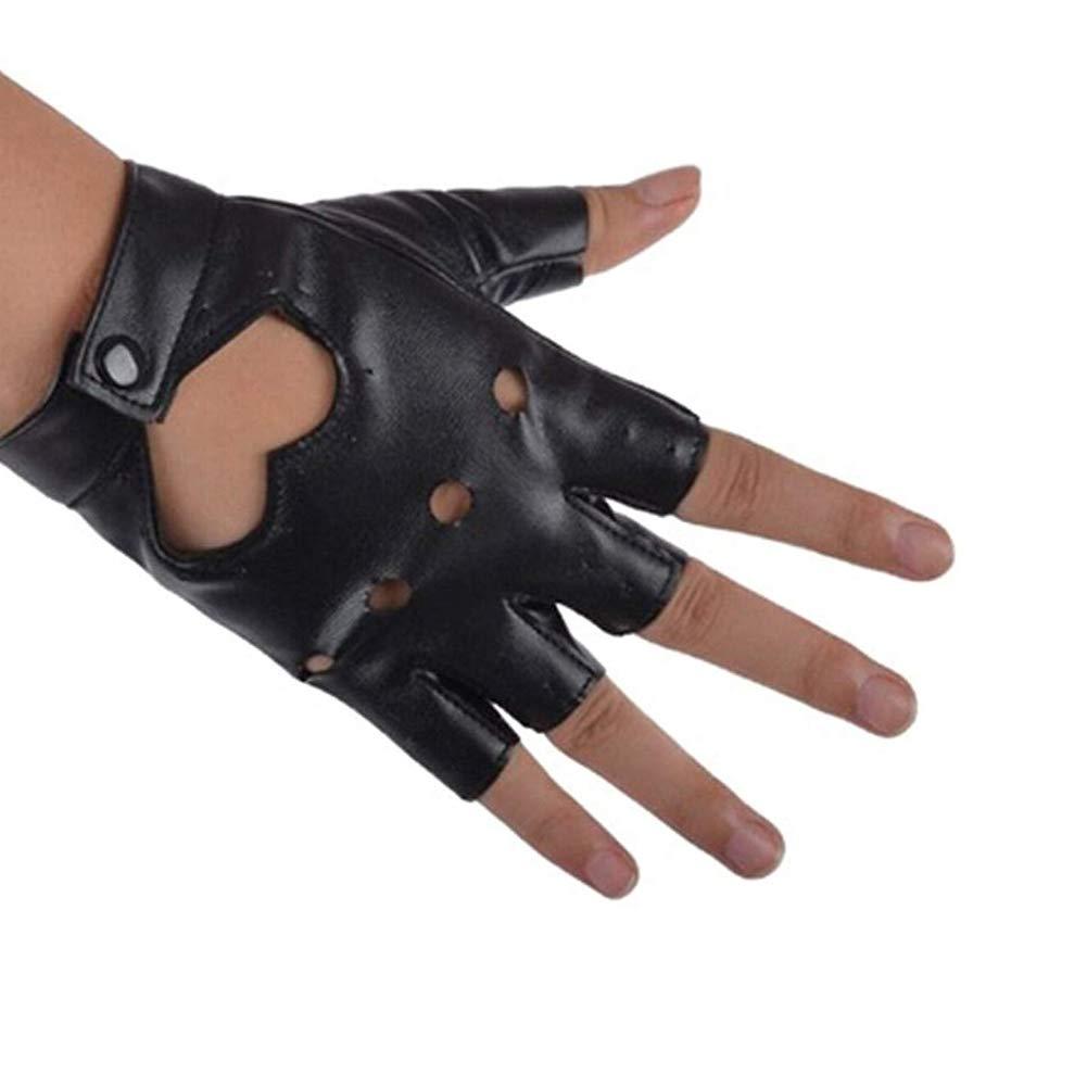 Newin Star 1 Paire de Mode Le c/œur Punk Cutout Finger moiti/é PU Gants de Performance en Cuir pour Les Femmes Noires