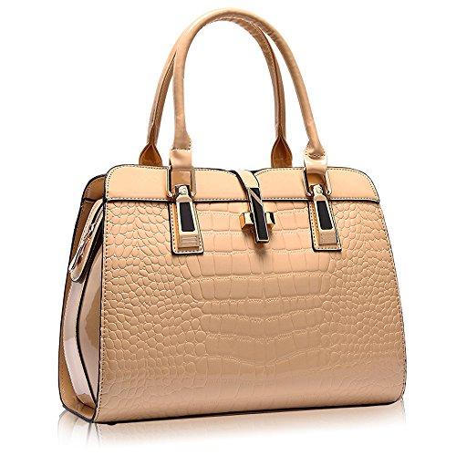 Women's Tote Top Handle Handbags Crocodile Pattern Leather Cross-body Purse Shoulder Bags (Khaki) ()