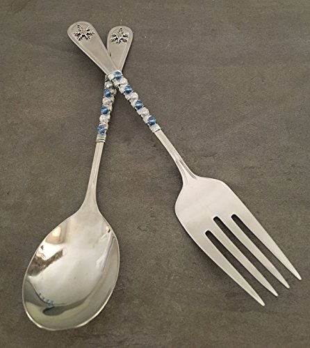 Blue & White Winter Snowflake Solid Serving Spoon & Fork