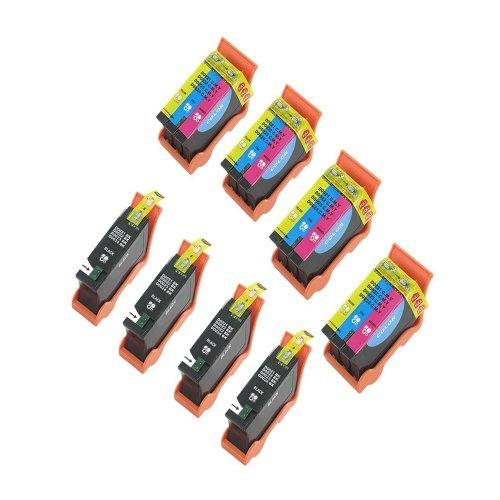 (4 Black & 4 Color) Compatible Hi-Yield Ink Cartridge for Dell Series 21 22 23 24 P513w P713w V313 V715w v515w by Inkcool