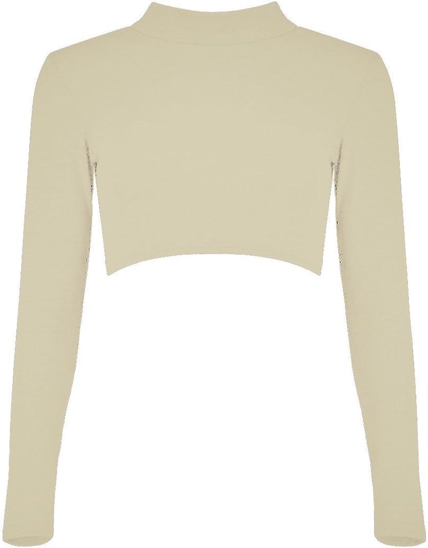 Re Tech UK Ladies Turtle Polo Neck Crop Top Long Sleeve Short Plain