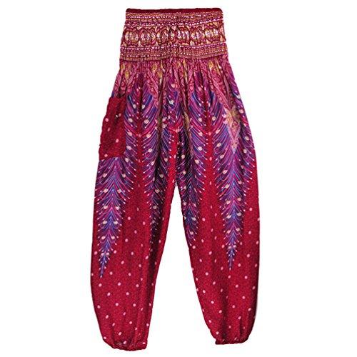 Donna Sentaoa Pantaloni Pilates Pantaloni Danza stampa Smocked Pantaloni Boho di Waist 12 Yoga Harem Stile R0dr70v