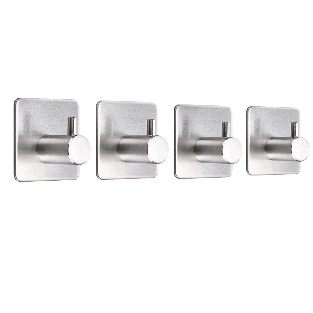 Sumnacon Towel Coat Hooks Racks - Self Adhesive Stainless Steel Utility Hooks, Hats Keys Bags Hanger For Home Kitchen Bathroom