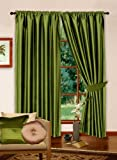 "66"" x 54"" Lime Green Faux Silk Curtains Lined With Complete Set of Matching Tiebacks"