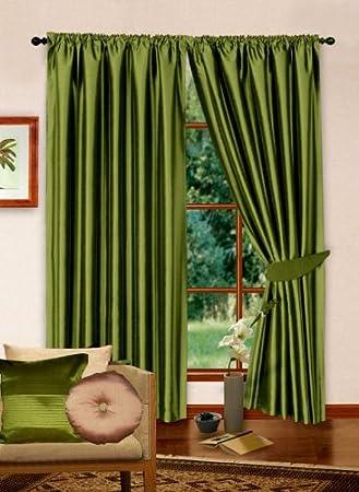 X Readymade Faux Silk Curtains Plain Lime Green Curtains