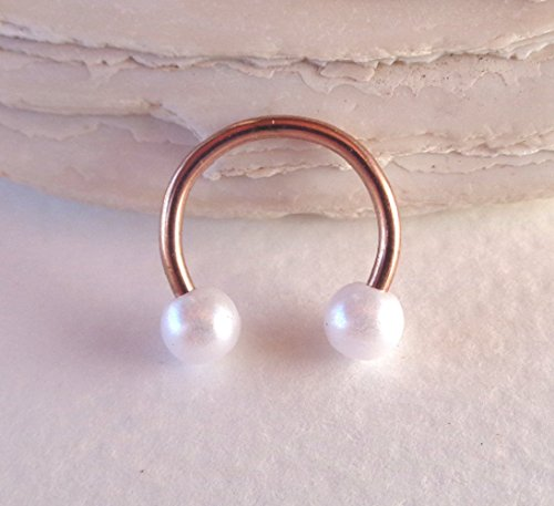 Horseshoe Circular Barbell Pearl Septum,Helix,Cartilage,Scaffold,Upper Ear,Lobe,Nose Ring (Horseshoes Pearl)
