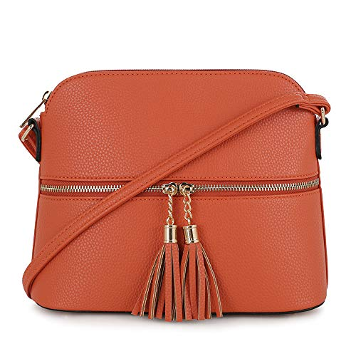 SG SUGU Lightweight Medium Dome Crossbody Bag with Tassel | Zipper Pocket | Adjustable Strap (Orange)