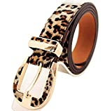 Leopard Print Faux Leather Fashion Belt for Ladies, Gift Idea,Brown,One Size