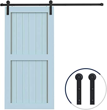 Amazon Com Hahaemall Classic Design 9ft 108 Single Sliding Barn Door Hardware Cloest Black Metal Rail Heavy Duty I Shape Hangers Home Improvement