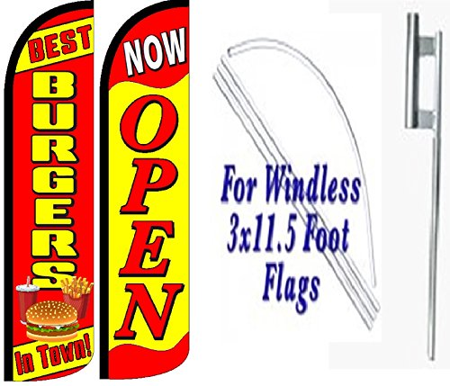Best Burgers In Town Now Open King Windless Swooper Flag Sign Kit With Pole and Ground Spike - Pack of 2 by OnPoint Wares