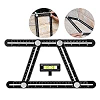 Universal Angularizer Ruler - Measuring Tools Ultimate Template Tools Upgraded Aluminum Alloy Multifunctional Ruler with Attached Line Level for Handymen, Builders, Carpenters, Craftsmen, Architects,