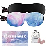 PrettyCare 3D Sleep Mask (New Design - Aurora Blue and Black) Eye Mask for Sleeping - Contoured Face Mask Silk - Blindfold with Ear Plugs,Travel Pouch - Best Night Eyeshade for Men Women Kids